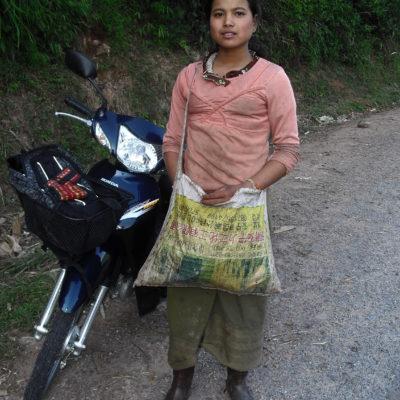 Laos, motorbike hitchhiker