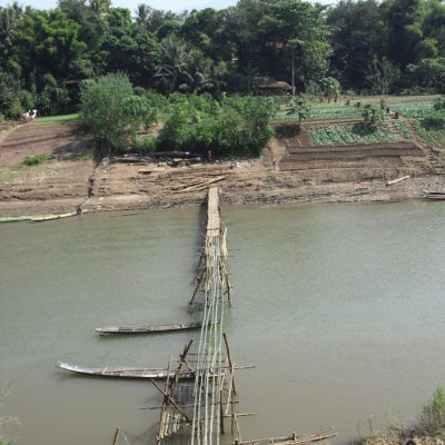 Laos, bamboo bridge