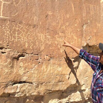 Ron Wadsworth and petroglyphs, Hopi Reservation