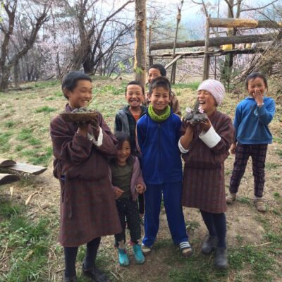 Treehouse children in Bhutan enact a centuries-old ritual