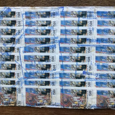 Stamps Mario affixed on back of envelope